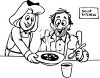 Black and White Clip Art of a Woman Working at a Soup Kitchen clipart