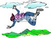 Color Clip Art of a Woman Skydiving clipart