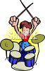 Drummer in a Rock Band with Drum Set clipart