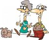 Elderly Couple Walking Their Dog clipart