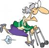Spry Old Woman Running With a Walker clipart