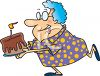 Grandma Running with a Birthday Cake clipart
