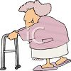 Old Lady With a Walker clipart