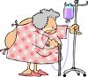 Old Lady In the Hospital Pushing Her IV Stand clipart