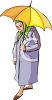 Old Woman Standing Under an Umbrella clipart