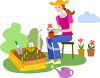 Woman Planting Flowers clipart