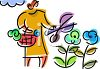 Woman Cutting Flowers clipart