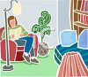 Woman Reading a Book in Her Living Room clipart