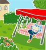 Person Sitting in a Back Yard Swing clipart