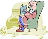 Wealthy Man Relaxing with a Book clipart