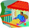 Black Man Sitting on His Balcony clipart