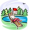 Woman Relaxing by the Lake clipart