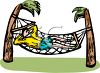 Man Napping in a Hammock clipart