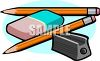 Two Pencils, a Sharpener and an Eraser clipart