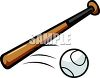 Baseball Bat and Moving Ball clipart