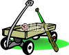 Baseball Bat Leaning Against a Kids Wagon clipart