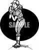 Black and White Female Baseball Pitcher clipart