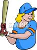 Girl Baseball Player Up To Bat clipart