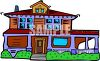 Large House with a Big Wrap Around Porch-1940's clipart