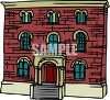 Brick Building with Lots of Windows clipart