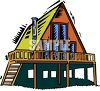 A-Frame Style House on Stilts clipart