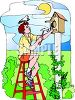 Young Man Building a Birdhouse clipart