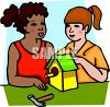 Girls Building a Birdhouse clipart