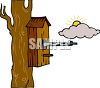 Birdhouse Nailed to a Tree clipart