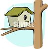 Birdhouse on a Tree Limb clipart