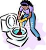 African American Woman Unplugging a Toilet with a Plunger clipart