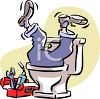 Plumber Upside Down in a Toilet clipart