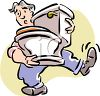 Man Carrying a Toilet clipart