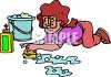 Mom Scrubbing the Floor clipart
