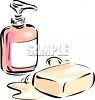 Liquid Soap in a Dispenser and a Bar of Bath Soap clipart