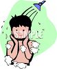 Boy Taking a Shower clipart
