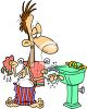 Man Washing Up clipart