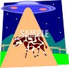 Cartoon of a Space Ship Abducting a Cow clipart
