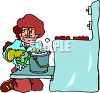 Woman Cleaning an Oven clipart