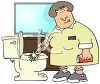 Maid Cleaning a Bathroom clipart