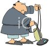 Fat Man Vacuuming clipart