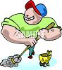 Muscle-Bound Janitor with a Mop clipart