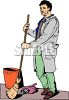 Guy Sweeping Trash into a Dust Pan clipart