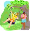 Girls Swinging in the Park clipart