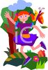 Girl Running Through the Park clipart