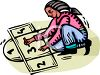 African American Girl Playing Hopscotch clipart