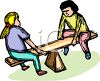 Girls on a Teeter Totter clipart
