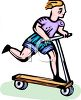 Child Riding a Scooter clipart