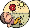 Boy Laying in the Grass on a Summer Day clipart