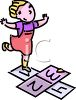 Girl Playing Hopscotch clipart