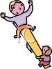 Two Boys on a Teeter Totter clipart